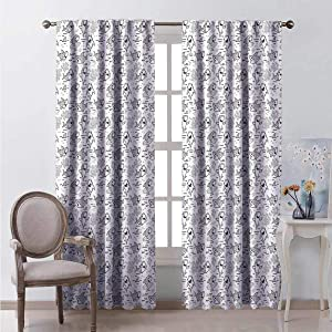 HELLOLEON Ba Shark 99% Blackout Curtains Outline Uncolored Surfer Big Breed Fish with Underwater Plants Pattern for Bedroom Kindergarten Living Room W120 x L96 Inch Charcoal Grey White