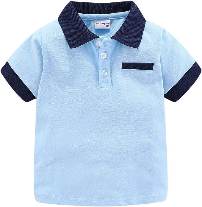 LittleSpring Little Boys Polo T-Shirt Buttons