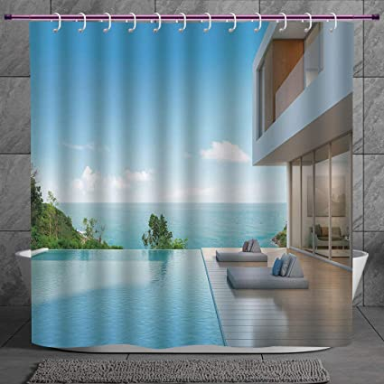 SCOCICI Polyester Shower Curtain 2.0 [ White Decor,Modern Minimalist Design Beach  Summer House With