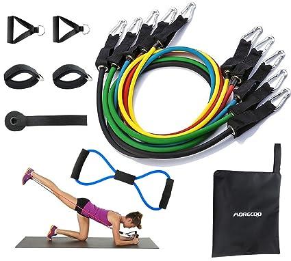 Bandas Elasticas Fitness con Manijas,Ancla de Puerta,Correas de Tobillo para Entrenamiento Fisioterapia Yoga Pilates TOMSHOO Bandas El/ásticas Resistencia Juego de 14