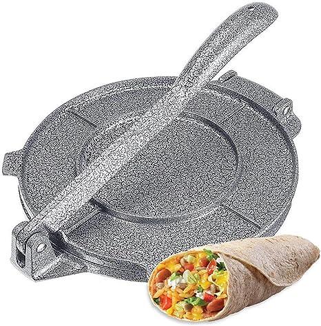 Tortilla Press Aluminium Tortilla Maker mit faltbarem Griff beschichtet Antihaft Tortilla Pie Maker Presspfanne Einfach zu verwendende Pizza