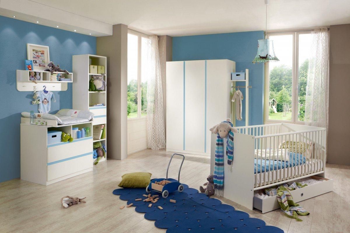 Dreams4Home Babyzimmer Set 'Bobo', Bett,Schrank,Wickelkommode,Regal,Wandboard,Garderobe,Alpinweiß,Absatz in Blau, Modell:ohne Bettseiten;Bettkasten:ohne Bettkasten