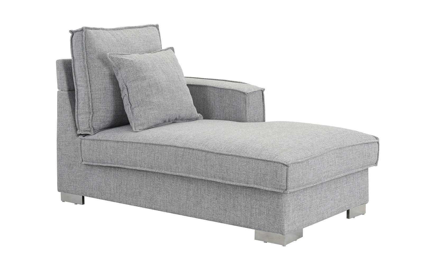 Classic Living Room Linen Fabric Chaise Lounge (Light Grey) by Casa Andrea Milano
