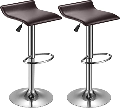 kealive Bar Stool PU Leather Set of 2 Adjustable Bar Chairs, Kitchen Counter Height Swivel Barstools with Footrest Modern Stool Set Dining Chairs, Retro Brown