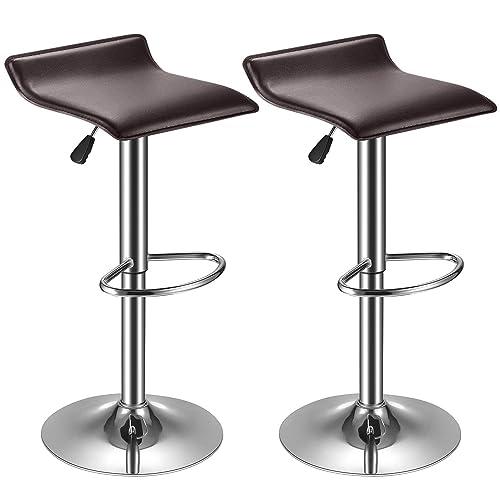 kealive Bar Stool PU Leather Set of 2 Adjustable Bar Chair