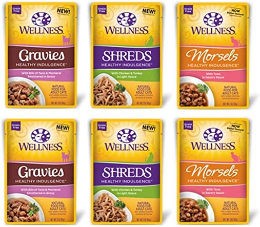 Wellness Healthy Indulgence Grain Free Cat Food 3 Flavor Variety 6 Pouch Bundle 2 Chicken Turkey Shreds, 2 Tuna Morsels, and 2 Tuna Mackerel Gravies, 3 Oz. Ea. 6 Pouches Total