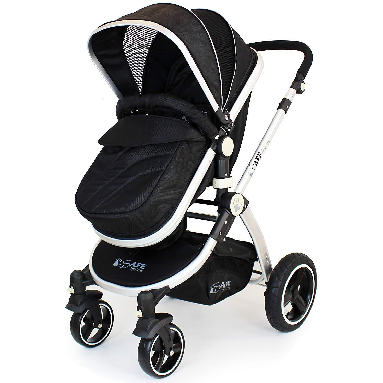 i-Safe System Black 3 in1 Travel System Pram /& Luxury Stroller Complete with Car Seat