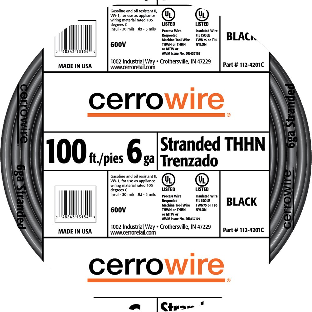 Cerrowire 112-4201C 100-Feet 6-Gauge Stranded THHN Black Wire ...