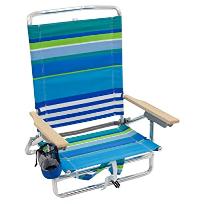 Rio Beach Classic 5 Position Lay Flat Folding Backpack Beach Chair - More Than A Blue Stripe : Sports & Outdoors