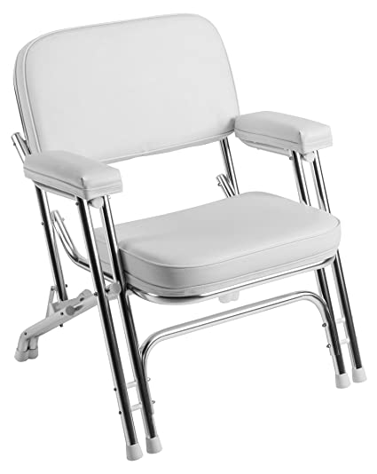Bon Wise Folding Deck Chair With Aluminum Frame, White