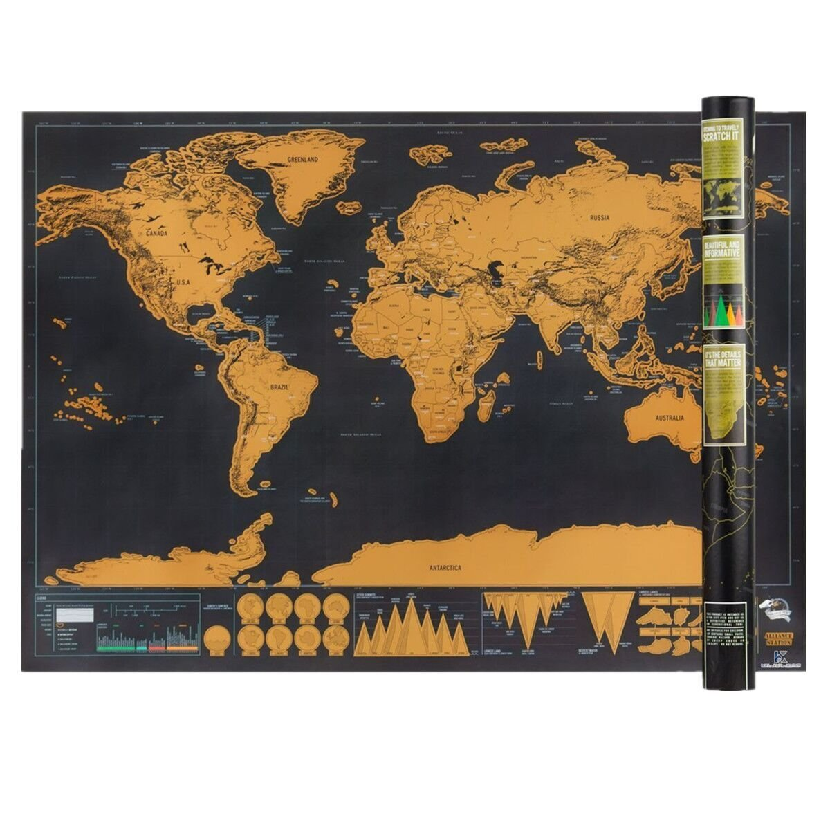 Scratch Off World Map, Interactive Travel Scratch Map Black and Gold Deluxe Edition, Bright Colors Premium Artwork Poster for Home/Wall Decor SEALEN World Map L