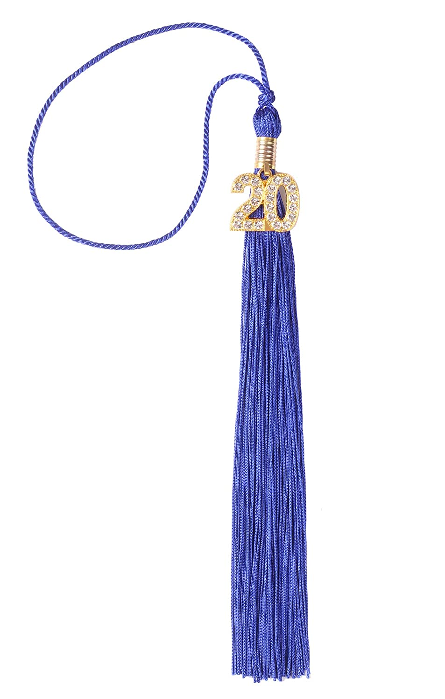 UIALECG Single Color Graduation Tassel with Rhinestone Gold 20 Year Charm