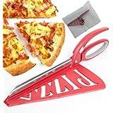 Home Papa Ciseaux de pizza d'acier inoxydable avec la spatule et la commande de sécurité démontables, rouge, 13 pouces