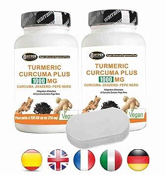Turmeric Curcuma 1000 La curcumina + Jengibre + piperina Con soporte para pastillas quemador de grasa .