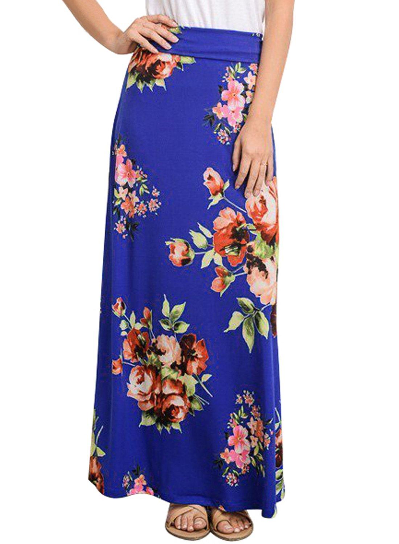 Lovezesent Vintage Floral Print A Line Bohemian Style Long Maxi Skirts Pencil for Women Ankle Length Blue Plus Size XL