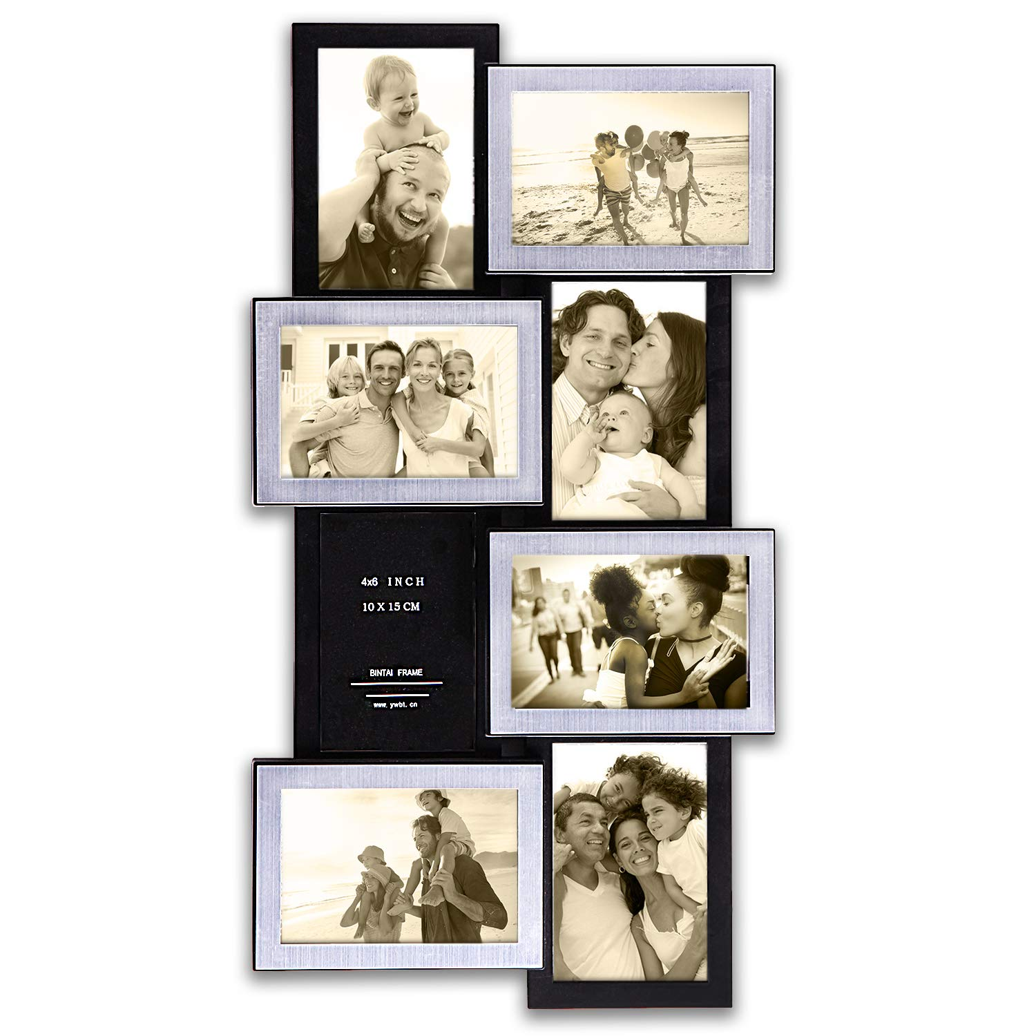 Hello Laura Gallery Style Photo Frame 8 Units Wall Hanging Picture Frame 33 by 13.5 inch Wall Hanging Photo Frame 4 x 6 inch Photo Sockets x 10-10 Opening Black Frame Edge