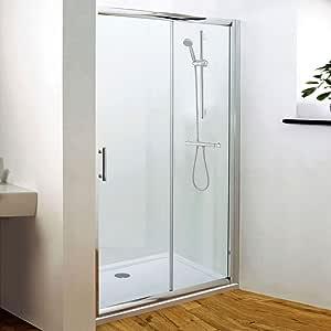 Trueshopping pulido plata marco deslizante puerta de ducha de baño reversible 6 mm de vidrio de seguridad templado protector de 1850 mm para almacenaje hueco o paseo en – todos los tamaños