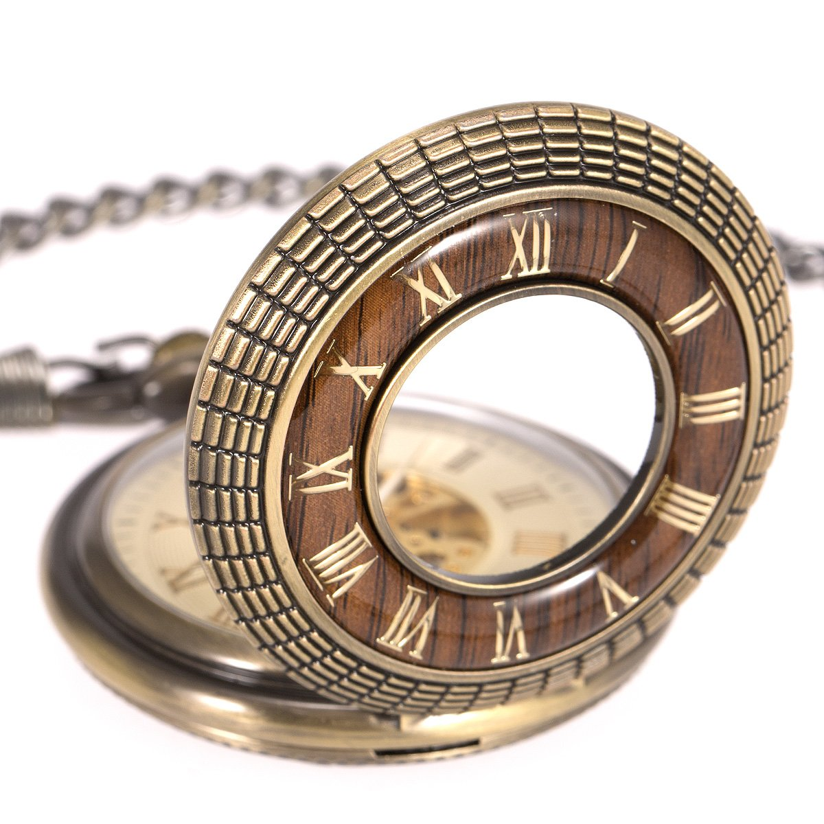 ManChDa Mens imitative wood Luminous Skeleton Mechanical Roman Numerals Pocket Watch With Chain Gift by ManChDa (Image #4)