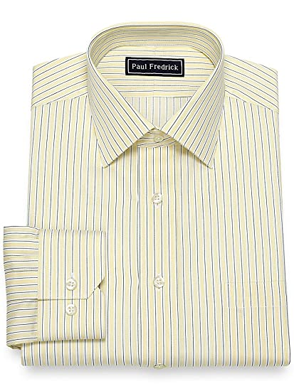 1940s Mens Clothing Paul Fredrick Mens Slim Fit Cotton Alternating Stripe Dress Shirt $34.98 AT vintagedancer.com