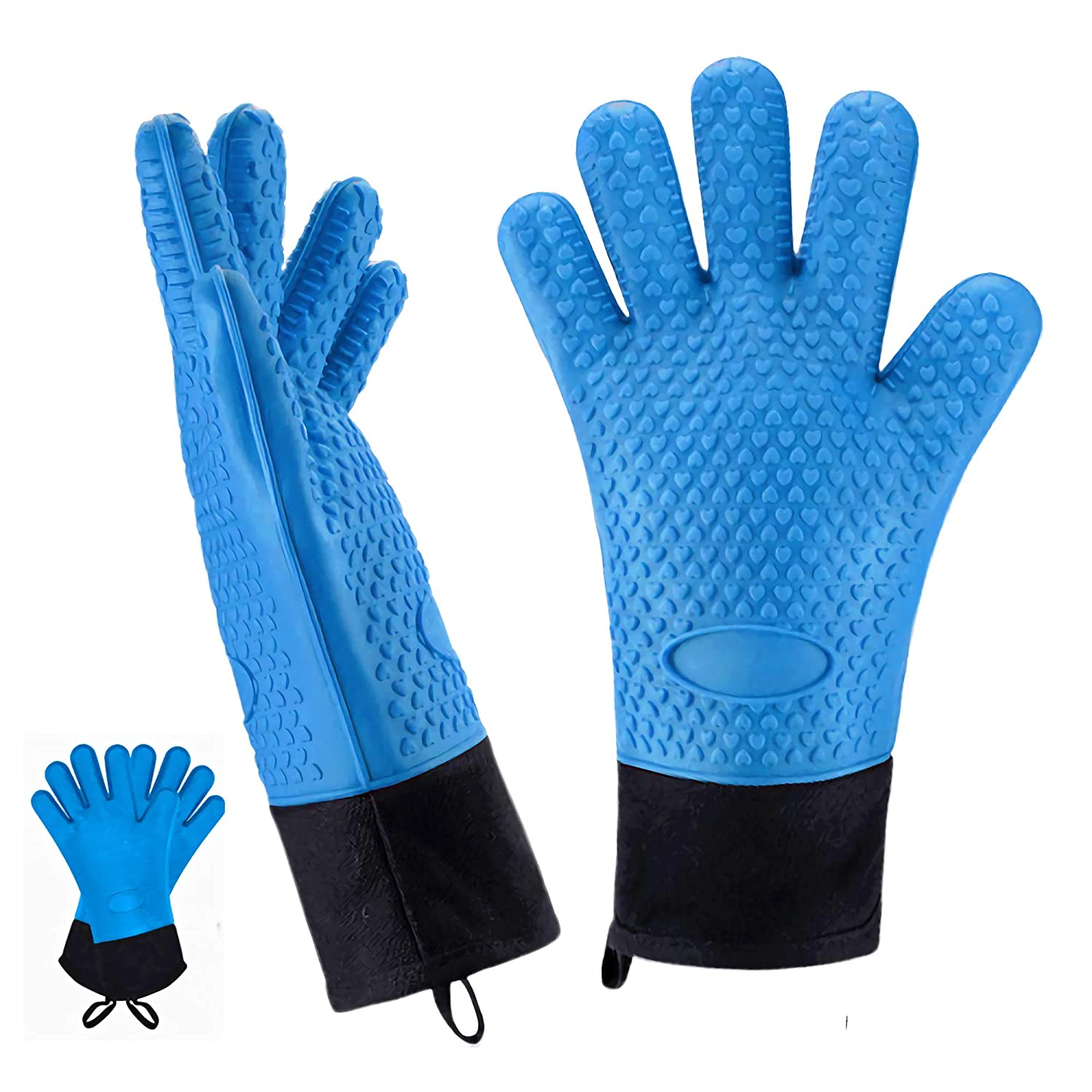 HUNLEE Oven Mitts, Long Size Waterproof Silicone Oven Mitts, Baking Insulation Heat Resistant Oven Gloves for Safe BBQ Cooking Grilling (Blue)