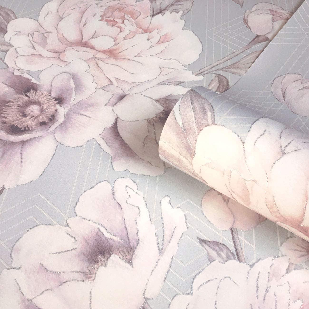 Stella Geometric Floral Wallpaper Blush Pink Grey Belgravia 9753