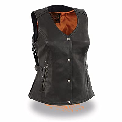 1st Manufacturing company Motorcycle Women's blk Leather Vest with Fringes Riding Lightweight Studed snap