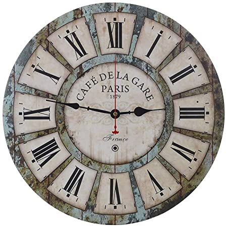 Yesee Large Wall Clock Silent Non-Ticking Battery Operated Wooden Wall Clock 16 inch Wall Decor Decorative for Kitchen Living Room Bathroom Bedroom with Roman Numerals, No Cover 16 inch,Roman Style