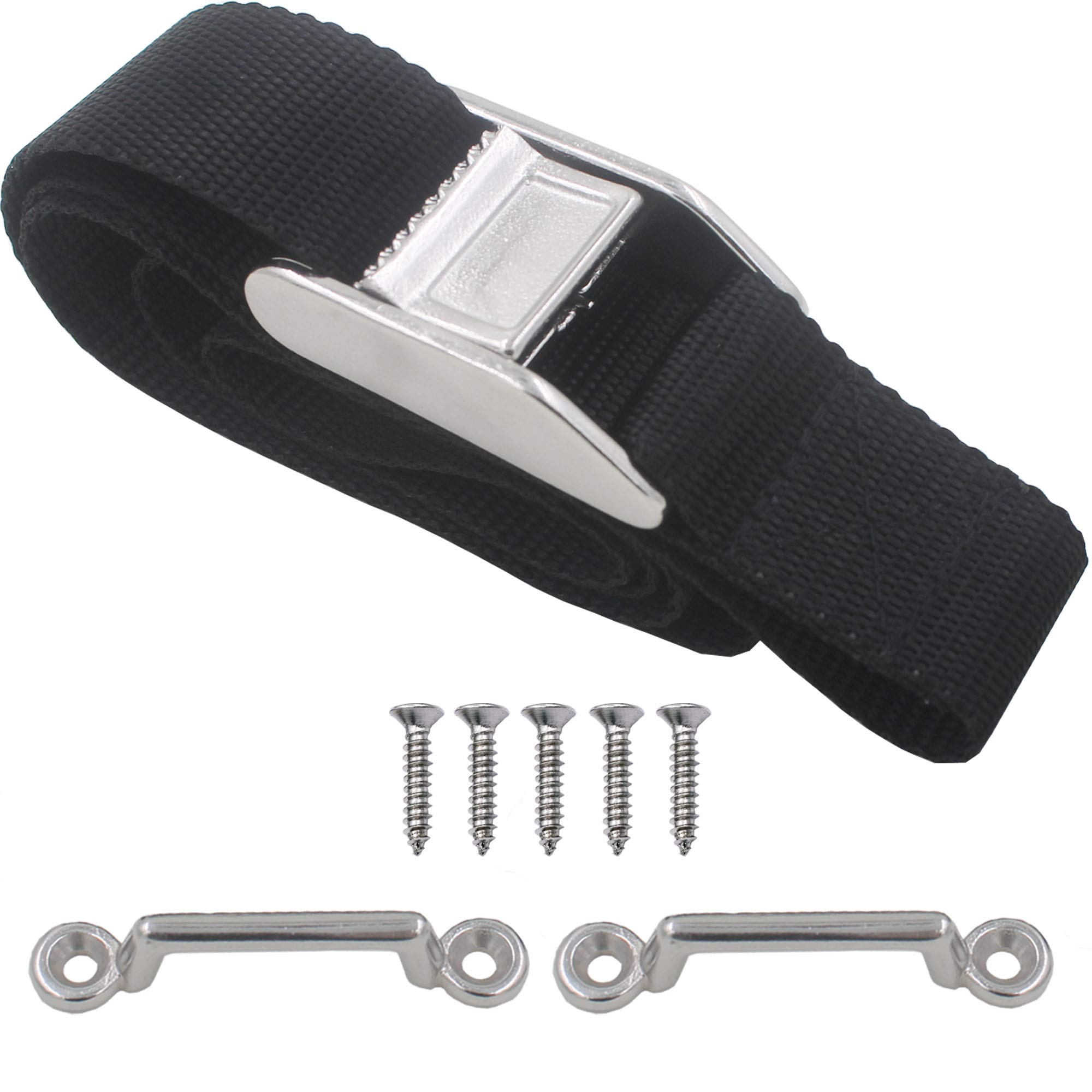 YYST 54'' Battery Tie Down Strap Kit Battery Hold Down Strap with Stainless Steel 316 Buckle, Stainless Steel 316 Deck Mounts, 4 SS Screws -1/PK by YYST
