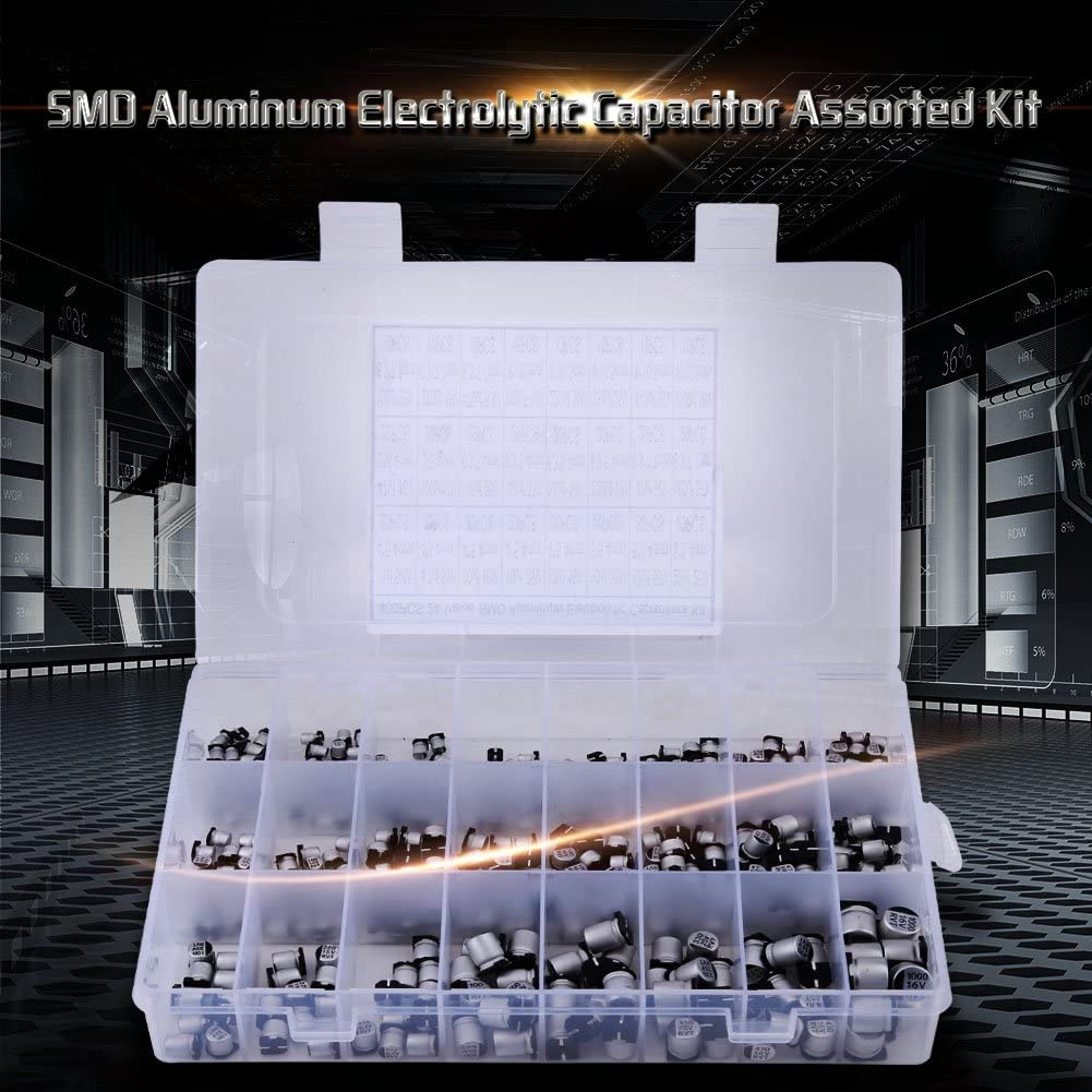 ASHATA Electrolytic Capacitor,400pcs 24 Values SMD Aluminum Electrolytic Capacitor Assorted Kit 1uF-1000uF,Convenient and Practical use,Safely Packed and Assorted in a Plastic Box