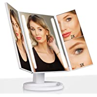 Outtop Lighted Makeup Mirror LED Vanity Makeup Mirror w/ Lights and 3X/2X Magnification (White)