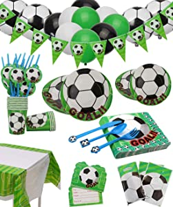 PIXHOTUL Soccer Party Supplies Sports Theme Party Pack Including Plates, Cups, Napkins, Spoons, Knives, Forks, Invitation Cards, Tablecloth, Banner, Gift Bags and Balloons 168Pcs, Serves 12