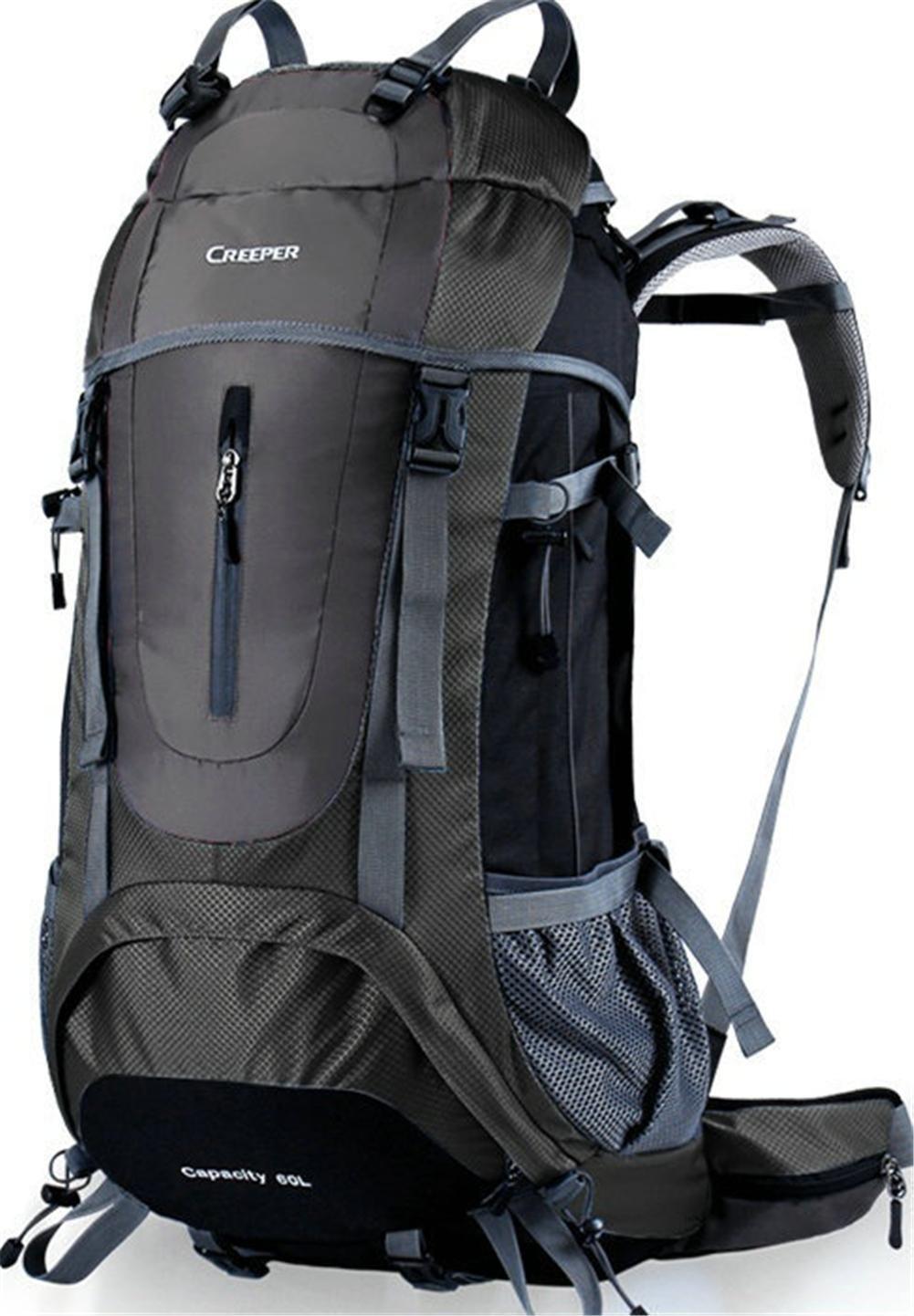noir 45l Grand sac à dos d'alpinisme Sac de voyage en nylon imperméable à l'eau Camping Randonnée Sac à dos d'escalade