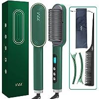 Ion plattborste, VKK hårplattång borste uppgradera joner hårvård, 25s snabb uppvärmning, 9 justerbar temperatur, PTC…