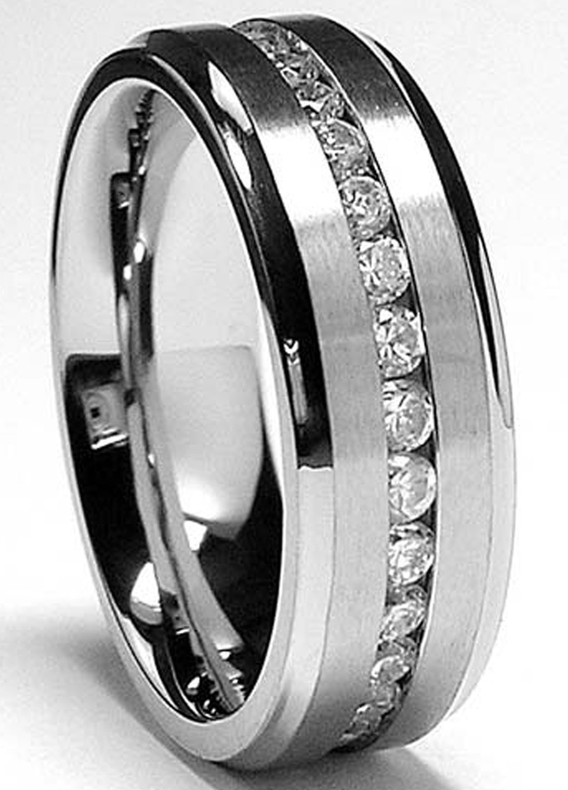 8MM High Polish/Matte Finish Eternity Stainless Steel ring with Cubic Zirconia sizes 7 to 18