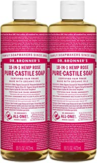 product image for Dr. Bronner's - Pure-Castile Liquid Soap (Rose, 16 ounce, 2-Pack) - Made with Organic Oils, 18-in-1 Uses: Face, Body, Hair, Laundry, Pets and Dishes, Concentrated, Vegan, Non-GMO