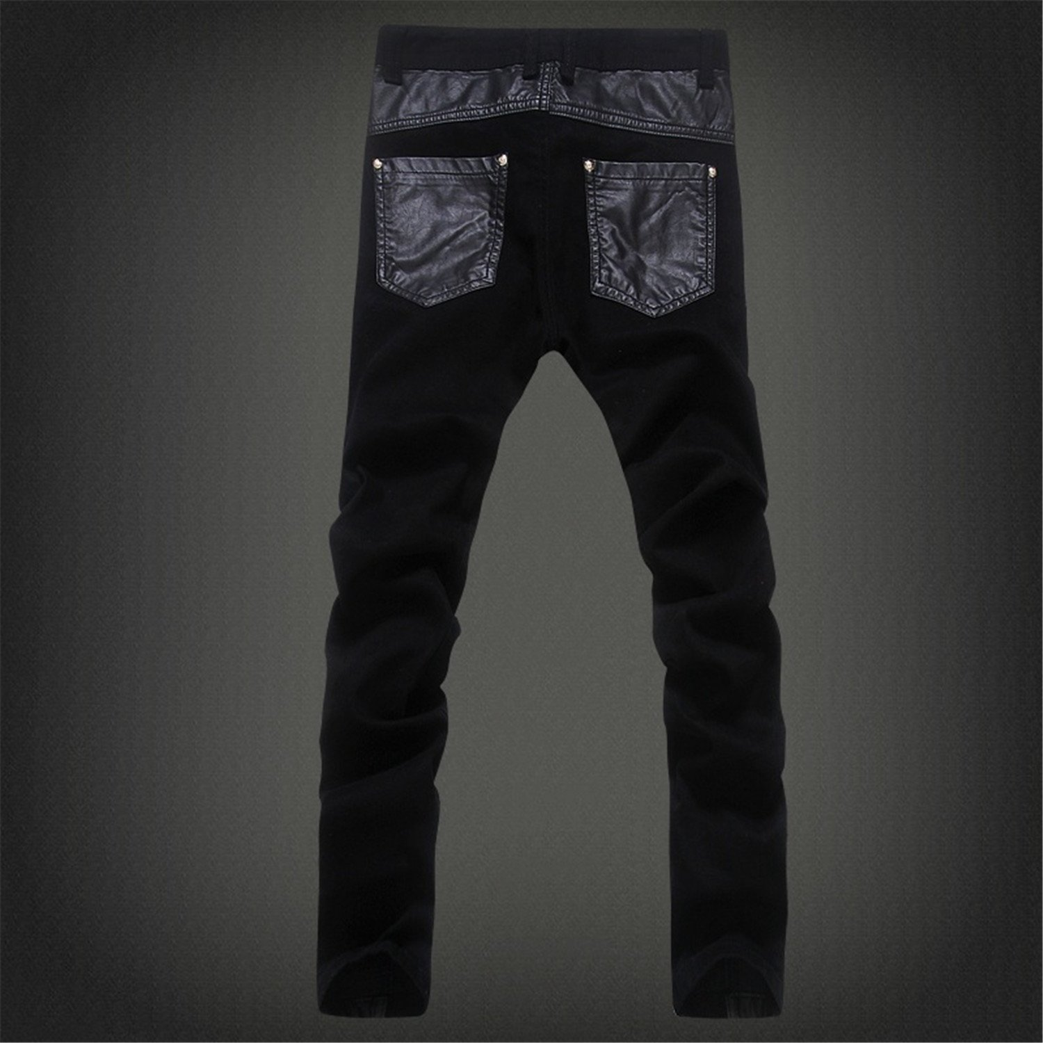 Vazpue Pants Fashion cool Mens punk rock jean pants with leather zipper Plus size 30 31 32 33 34 36 Patchwork Skinny tight