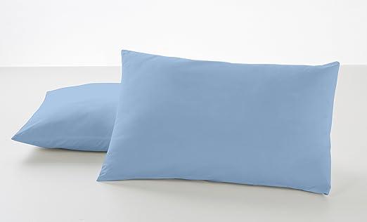 ESTELA - Funda de Almohada Combi Liso Color Azul Celeste - 2 ...