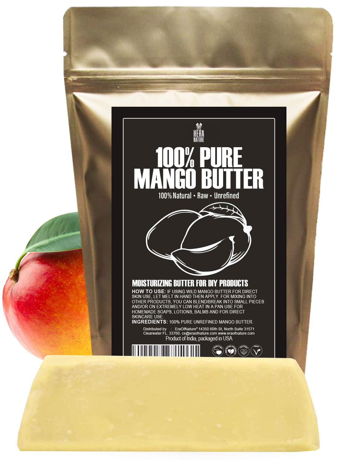 Raw, Unrefined Mango Butter Bar, 8 oz - Amazing Moisturizer, Use Alone or in DIY Body Butters, Soaps, Lotions and lip balm - Natural, Pure and Fresh (USA)