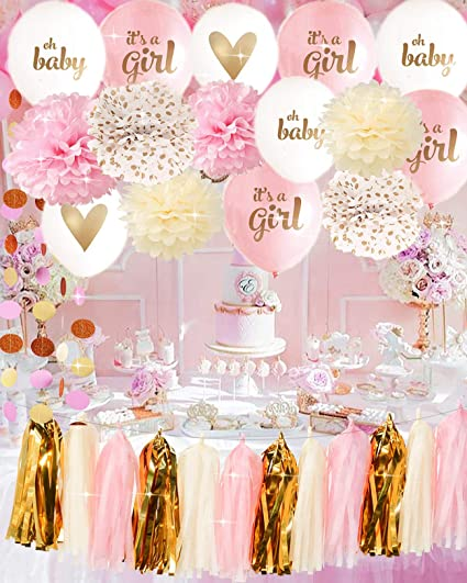 Amazon Its A Girl Ballon Baby Shower Decorations Pink Cream