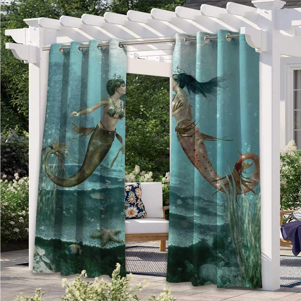 Outdoor Waterproof Curtain Mermaids in Love Underwater Fairy Design Abstract Love Art Home Sister Gifts from Sister Water Therapy Cabana Curtain for Cabana Corridor Garden Sun Room W84 x L84 Inch