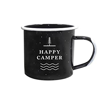 Journo Happy Camper Enamel Camping Mug - Black, 12 Oz (350 ml), Ecofriendly Outdoor Camper Mugs Ideal For Early Morning Coffee Or Cold Campfire Beer. (2 Custom Designs To Pick From. By Travel Co.) …