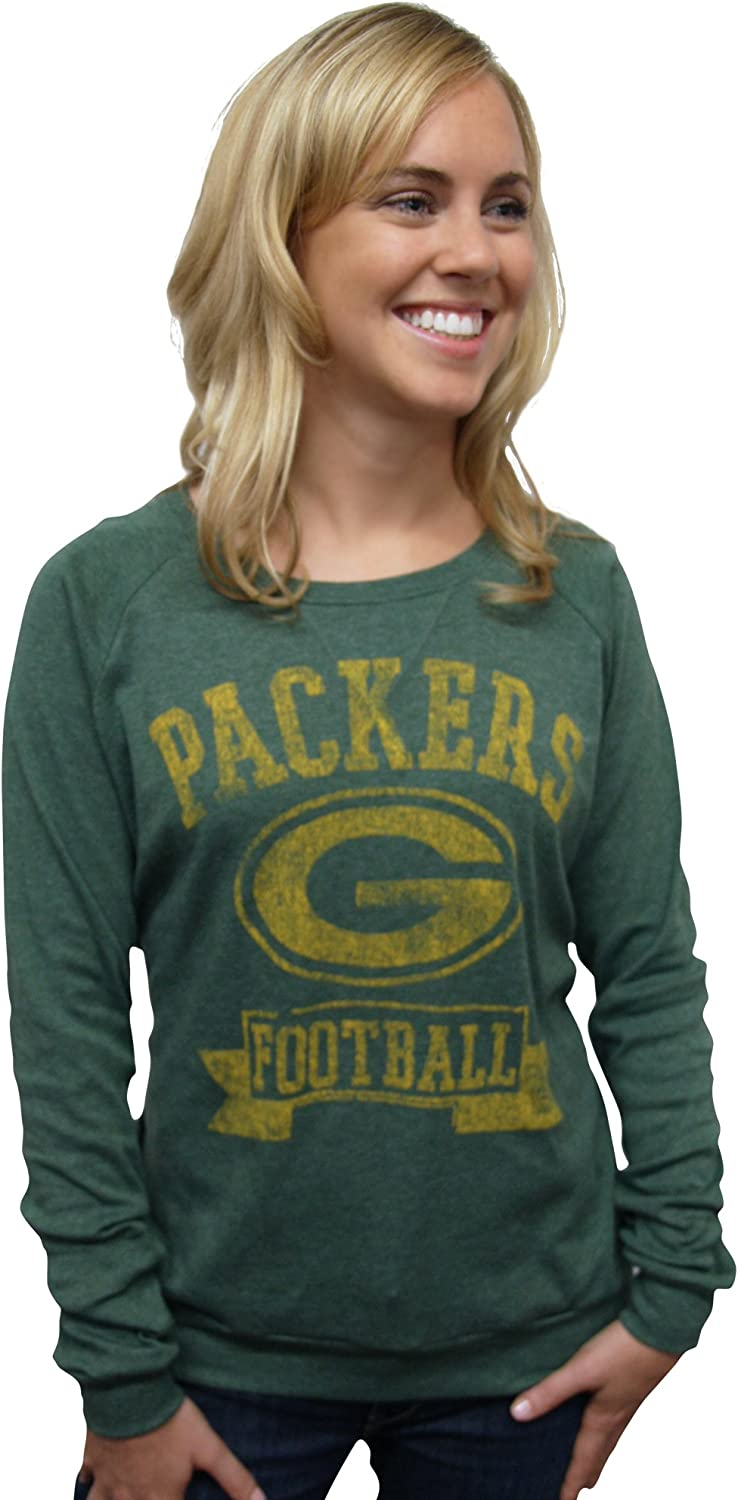 NFL Green Bay Packers Women's True Vintage Distressed Triblend Crew Neck Long Sleeve Pullover