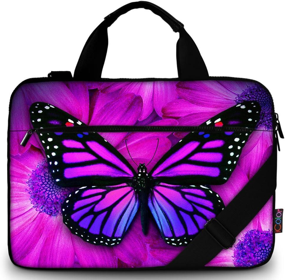 ICOLOR 14.5-15.6 Inch Canvas Laptop Sleeve Bag Messenger Shoulder Case -Purple Butterfly