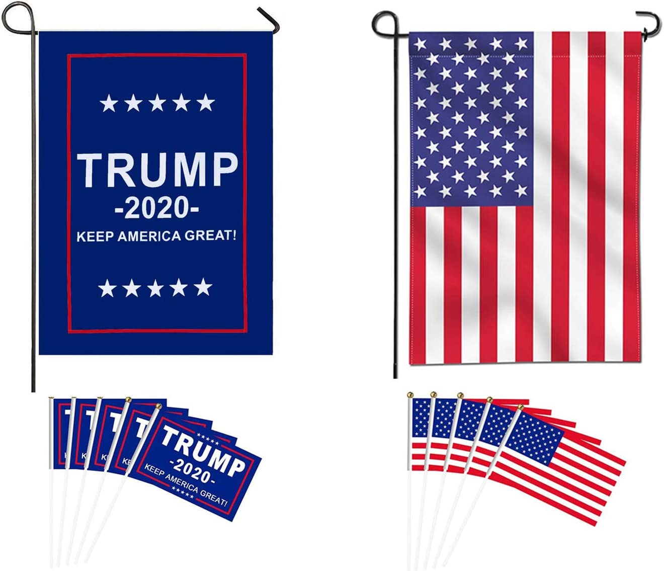 Taygate American Double Sided Nylon Garden Flag Donald Trump for President 2020 Keep America Great Garden Flag,Election Day Party Event Decorations with 10 Pack Small Hand Held Stick Flags