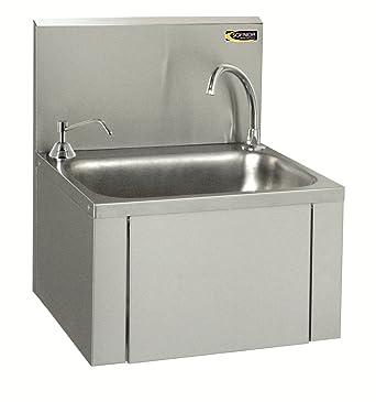 Waschbecken Edelstahl mit Kniebedienung Industrie Handwaschbecken+Seifenspender