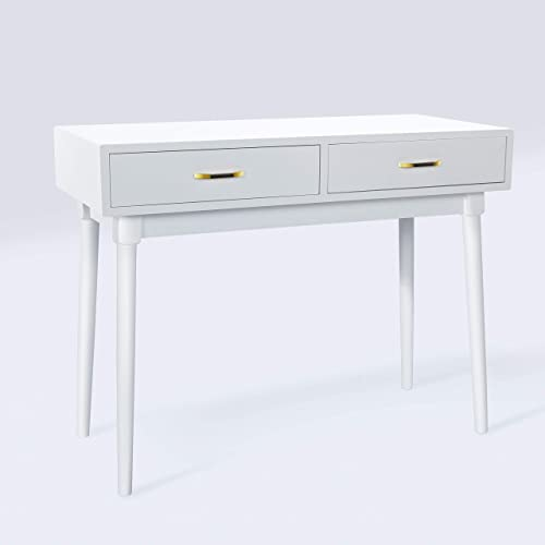 White Writing Computer Desk with 2 Storage Drawers for Home Office,Modern Laptop PC Table Workstation, Vanity Table White