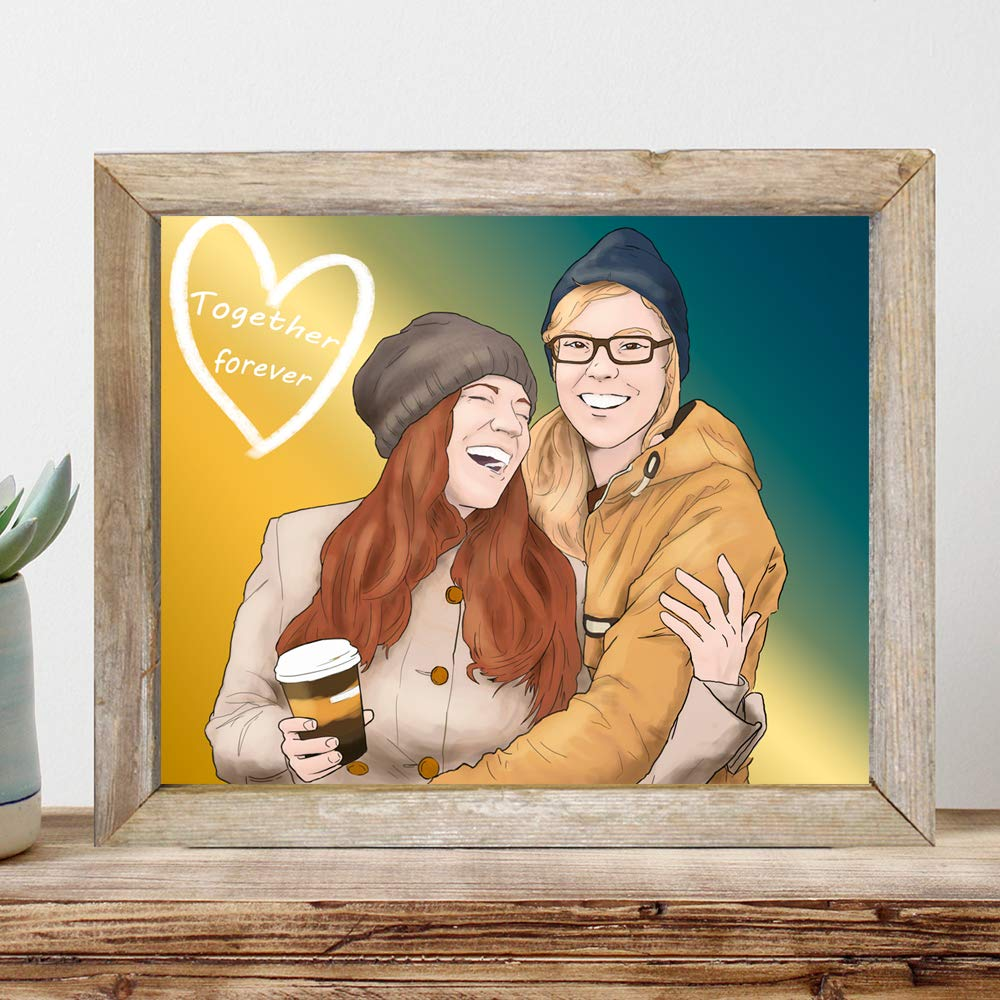 Customized Lesbian Couple Portrait - LGBTI Long Distance Relationship Gifts - Bespoke Ooak Ideas For Girlfriend
