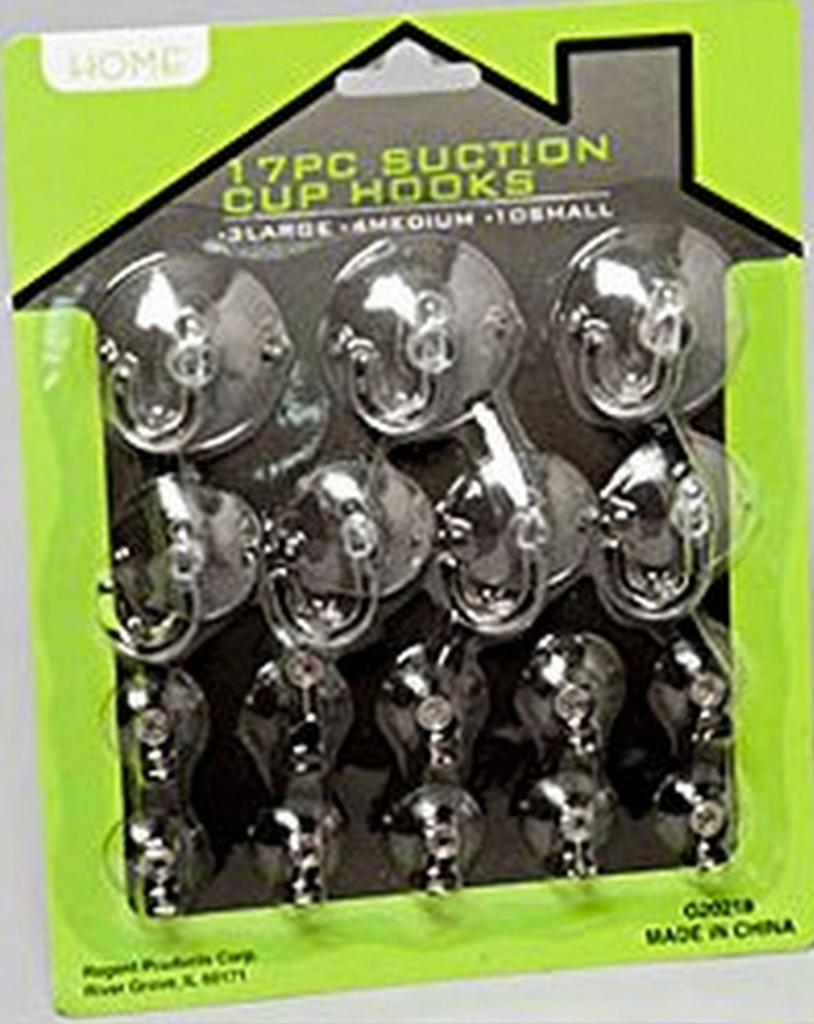 Set of 17 Alazco Suction Cup Hooks Clear Silicon with Plastic Hooks