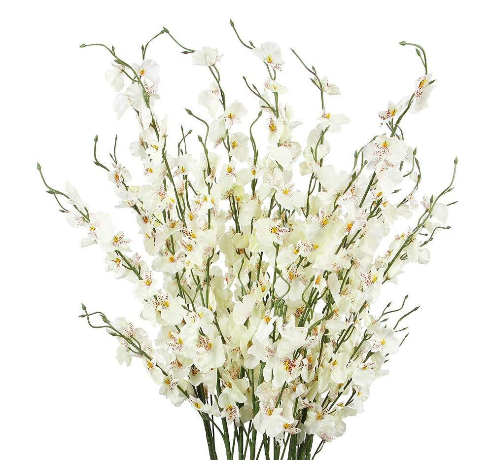 MARJON 造花 人工蘭の花 12本 シルクの造花 バルクオーキディアの花 屋内 屋外 結婚式 家庭 オフィス 装飾 お祭り 家具 ミルキーホワイト B07R3KV7QM
