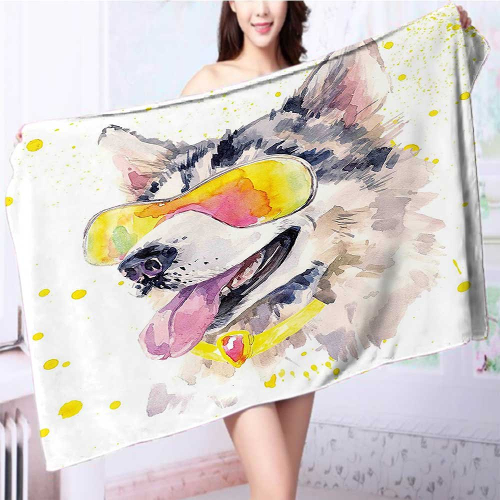 also easy Quick-Dry Bath Towel Husky Dog with Sunglasses ous Puppy Yellow Grey Ideal for everyday use L63 x W31.2 INCH